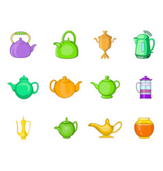 kettle icon set cartoon style vector image