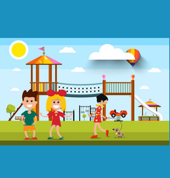 kids with playground and woman with dog on vector image
