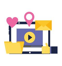 laptop video email folder love location social vector image