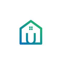 Letter u architect home construction creative vector