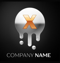 Letter x splash logo golden dots silver bubbles vector