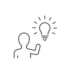 man have an idea line icon on white background vector image