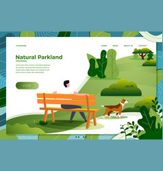man on bench with dog in park vector image