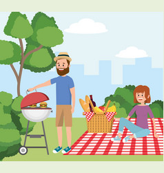Man with grill and woman in the tablecloth with vector