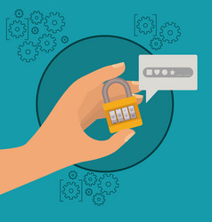 mobile security with hand holding closed padlock vector image