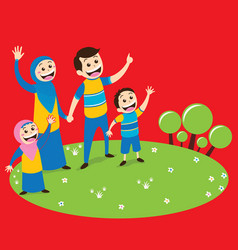Moslem family in park vector