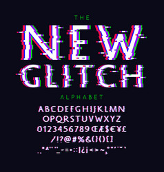 New glitch font and alphabet with numbers vector