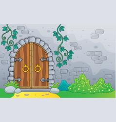 Old door theme image 2 vector