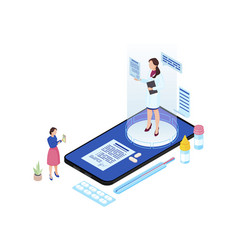 Online doctor appointment isometric cartoon vector