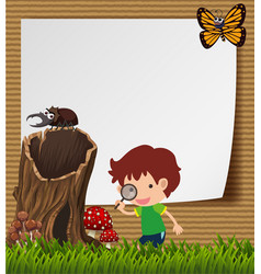 Paper template with boy and bugs vector