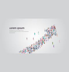 people crowd gathering in shape financial arrow vector image