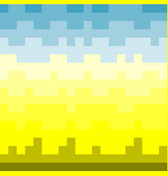 pixel pattern setting sun and blue sky over the vector image