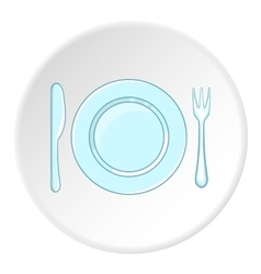 Plate with spoon and fork icon cartoon style vector