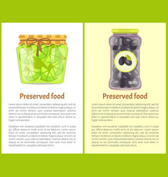 Preserved food poster lime and black picked olives vector
