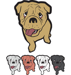 Puppy english bulldog sitting mascot logo sticker vector