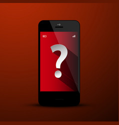 question mark symbol on mobile phone screen vector image