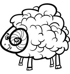 Ram cartoon for coloring book vector