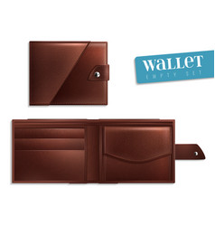 Realistic opened closed empty wallet icon set vector