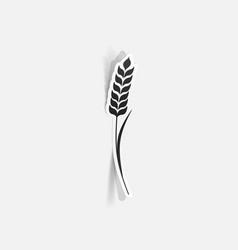 Realistic paper sticker ears wheat vector