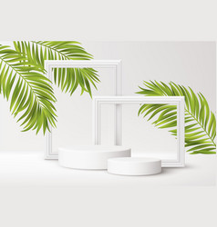 realistic white product podium with white picture vector image