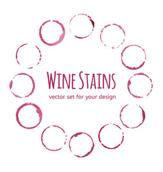 Red wine stains on white background template vector