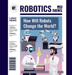 Robotics magazine cover design vector