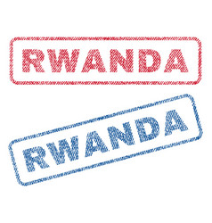 Rwanda textile stamps vector