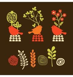 Set of cartoon elements birds with flowers vector image