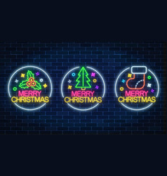 set of three christmas in neon style holiday vector image