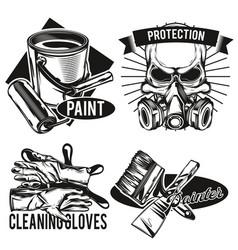 set painters facilities emblems vector image
