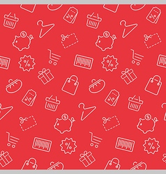 Shopping seamless pattern background in thin line vector