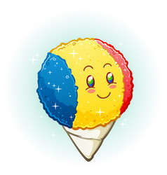 Snow cone cartoon character smiling vector