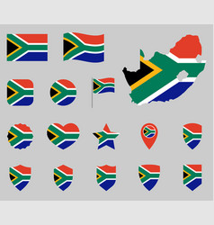 south africa flag icon set flag republic vector image