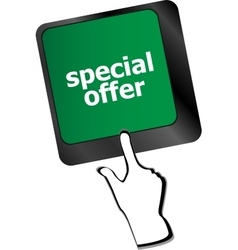 special offer button on computer keyboard keys vector image