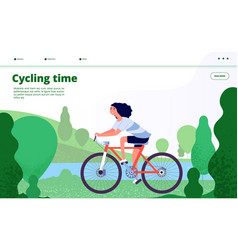 sports landing woman cycling fitness sport vector image