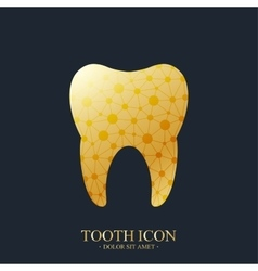 Tooth logo template medical design golden vector