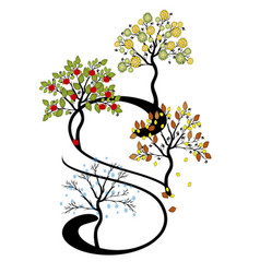 tree and seasons vector image