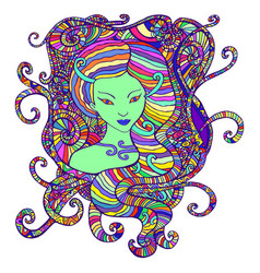 tribal woman portrait with hair -psychedelic vector image