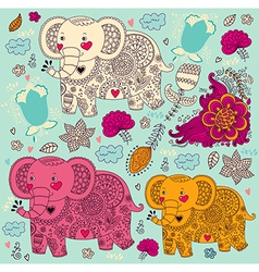 Various elephants vector