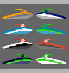 Version water scooter icons ships at sea vector
