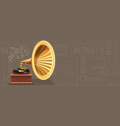 Vintage gramophone with retro vector