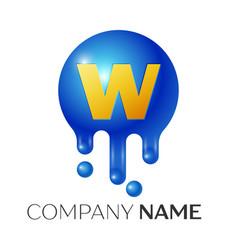 w letter splash logo blue dots and bubbles letter vector image