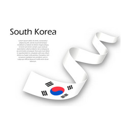 Waving ribbon or banner with flag of south korea vector