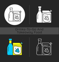 Wine to go dark theme icon vector