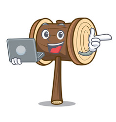 With laptop mallet character cartoon style vector