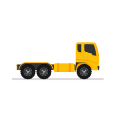 yellow tractor truck trailer long vehicle with vector image