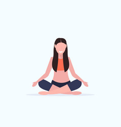 Young woman doing yoga exercises smiling sport vector