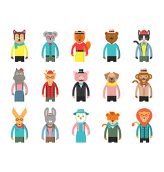 Zoo characters hipsters cartoon animals front vector