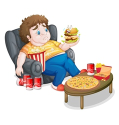 A fat boy eating vector image vector image