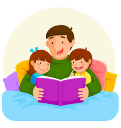 bedtime story with dad vector image vector image